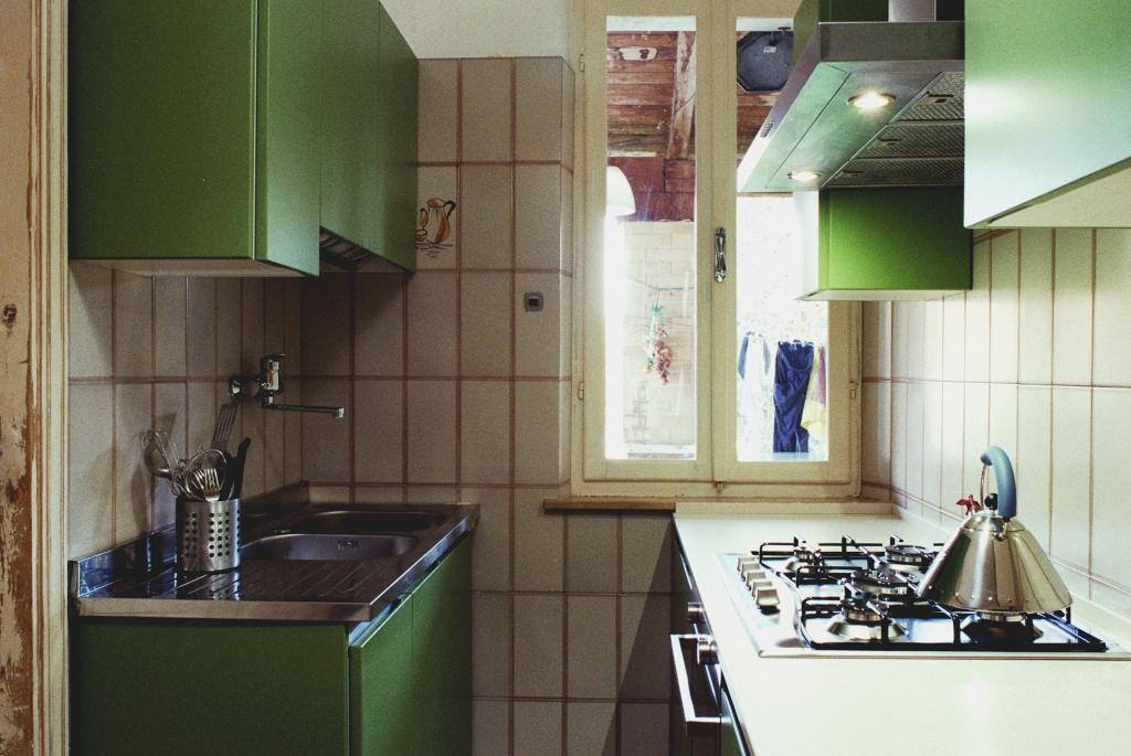 Piccola cucina lineare con postazioni di lavoro contrapposte ...